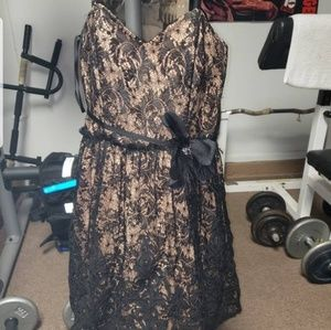 Girls vintage black and nude lace dress